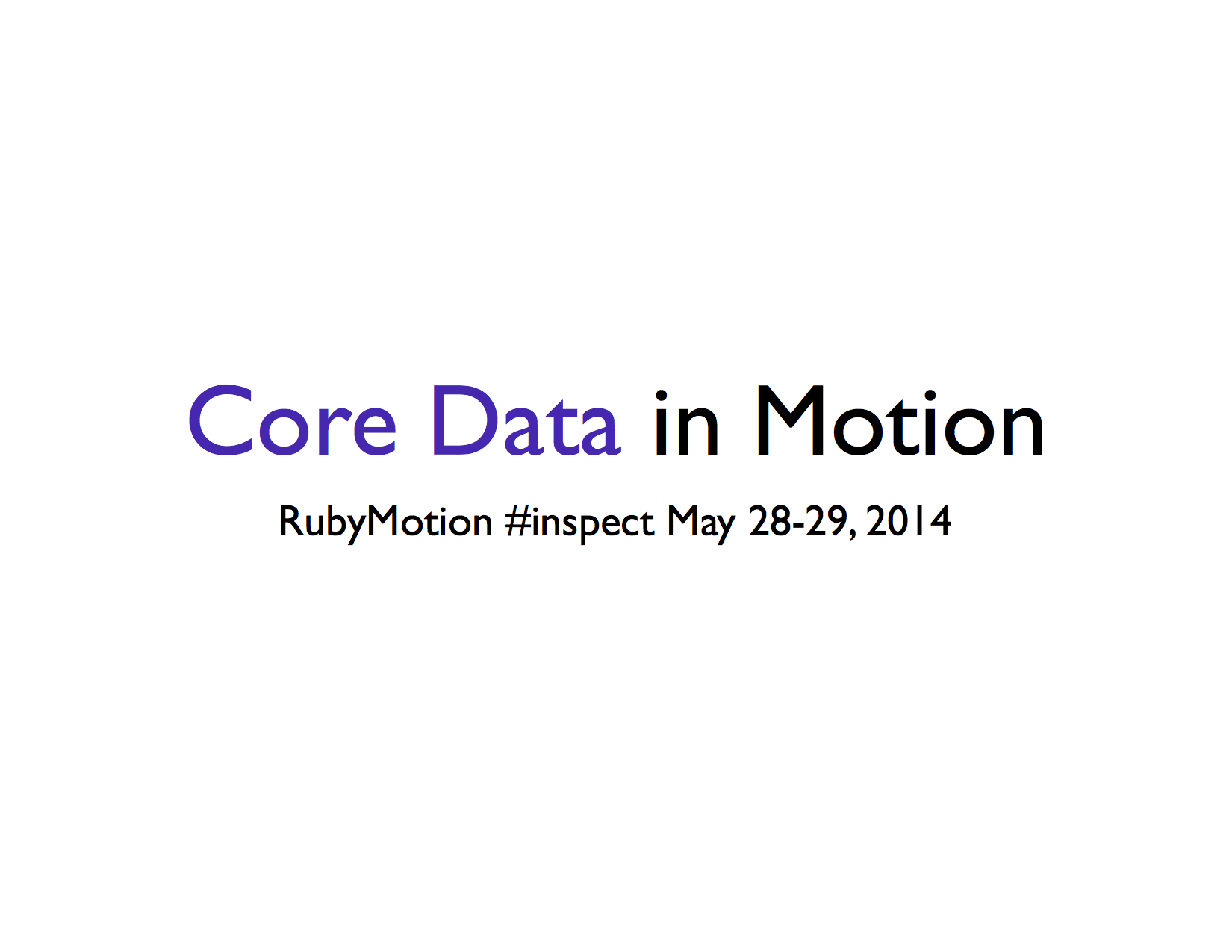 Core Data In Motion